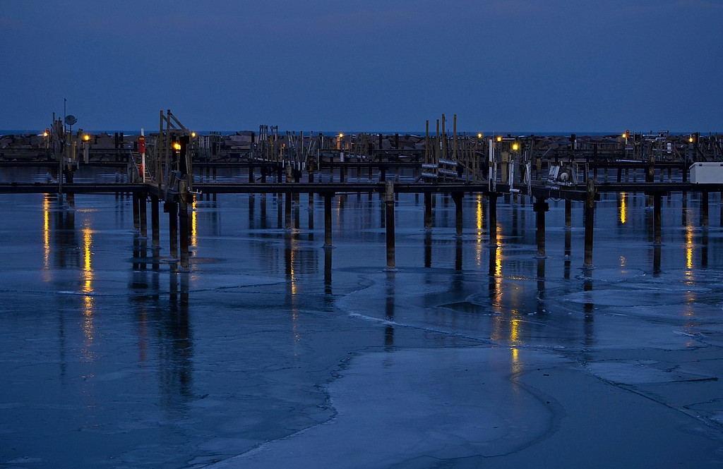 Ice moving in on Lake Michigan. South Shore Park, Bay View, Milwaukee Wisconsin