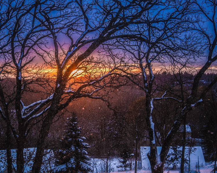 Sunset and Snowfall