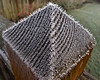 Hoar frost on fence post