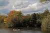 Canoeing on the Huron River in fall