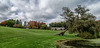 Photomerge view of the pond, meadow, and Visitors Center