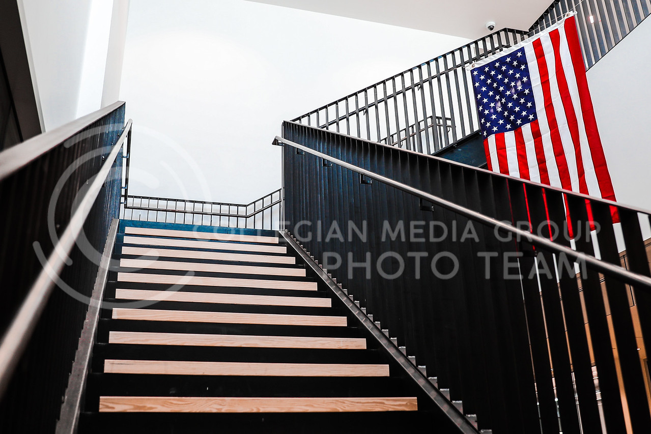 Seaton Hall's northwest stairwell is accompanied by an American Flag. (Photo by Cooper Kinley | Collegian Media Group)