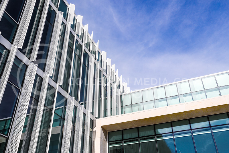 The newly built Seaton Hall and its modern exterior. (Photo by Cooper Kinley | Collegian Media Group)