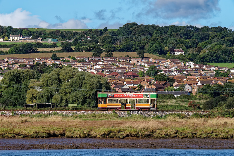 An empty Tram No. 10 passes through the Axmouth Loop, on 30th September 2016,