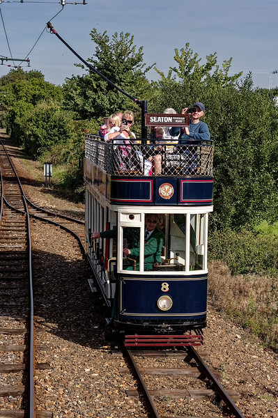 Tram No. 8, in the passing loop heading for Seaton, on 29th September 2015.