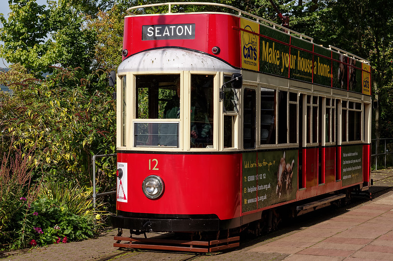 Tram No. 12 at Colyton Station, waiting for its next duty, on 29th September 2015.