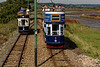Tram No. 8, heading for Colyford and Tram No. 9, heading for Seaton, <br /> passing in the loop on 29th September 2015.