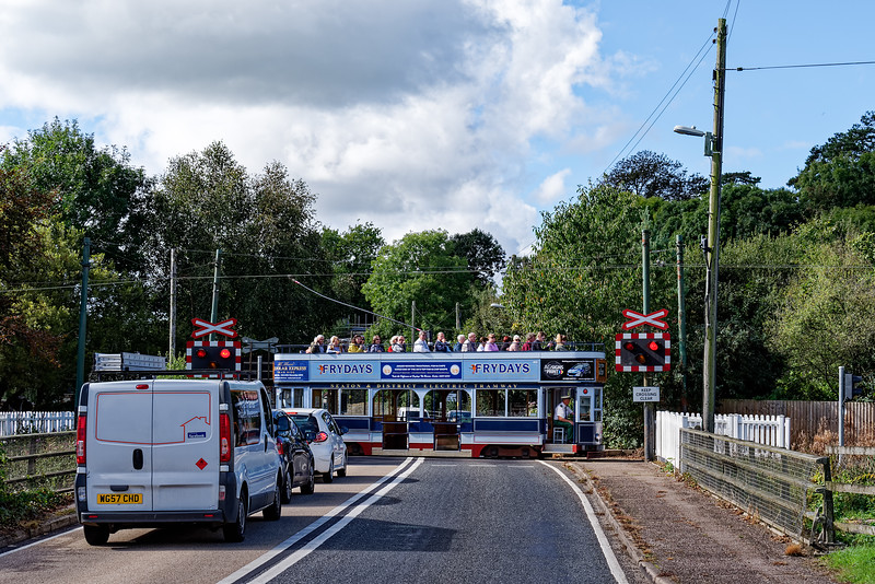 Tram No. 9 on the Colyford Level Crossing, heading for Colyton, on 30th September 2016.