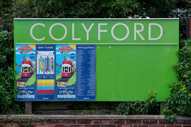 Colyford Station sign, 30th September 2016.