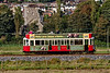 Tram No. 12 passes St Gregory's Church, heading towards the Seaton Terminus, <br /> on 28th September 2015.