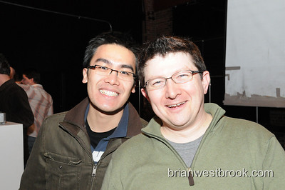 Expedians: Program Manager Richard Shum and Head Lab Rat Matt Conway.  Ignite Seattle 5 at the Capitol Hill Arts Center on 19 Feb 2008.  For event details visit: igniteseattle.com.  Photo (C) 2008 Brian M. Westbrook / brianwestbrook.com.