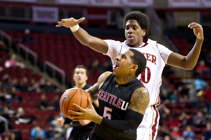 Men's Basketball Seattle University vs University of Denver. Images are for personal use only. Under no circumstances are these photos approved for promoting commercial products or allowed to appear on commercial items. Per NCAA Division I Manual Section 12.5.2.2