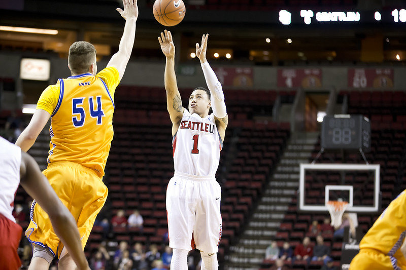 Seattle University Men's Basketball. Images are for personal use only. Under no circumstances are these photos approved for promoting commercial products or allowed to appear on commercial items. Per NCAA Division I Manual Section 12.5.2.2