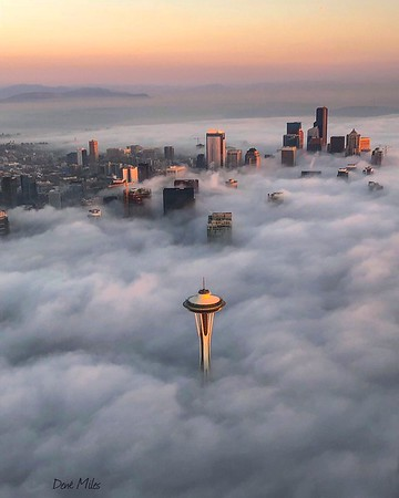 A foggy evening in Seattle