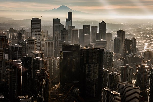 Seattle aerial with Mount Rainier