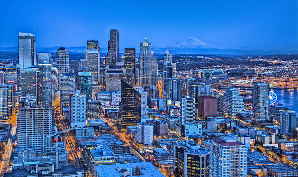 Downtown Seattle from the Space Needle last weekend
