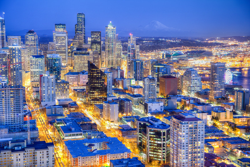 Seattle after sunset from the Space Needle