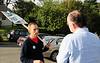 Councilmember Tom Rasmussen talks to a soccer dad at Delridge Playfield.