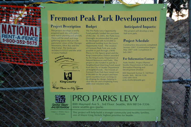 June 14, 2007.  A new park with panoramic views of the Sound and the Olympic Mountains is under construction.  The park should be completed by August or September 2007. <br /> The address is 4357 Palatine Ave N.  It is a Pro Parks Levy project.