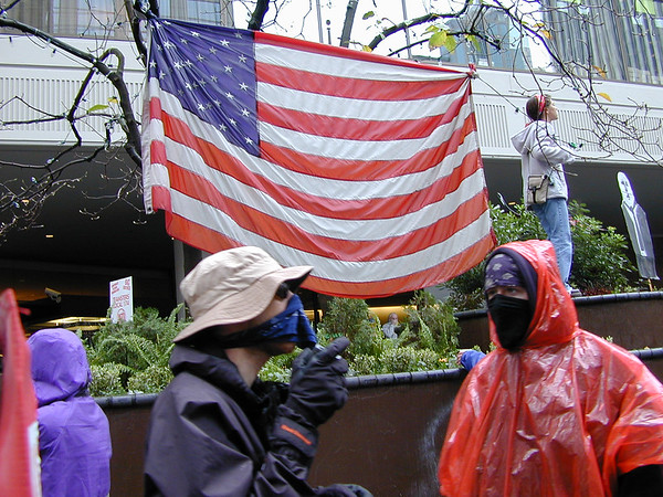 Protesters display the US flag, wearing handkerchiefs to reduce the effects of the tear gas.