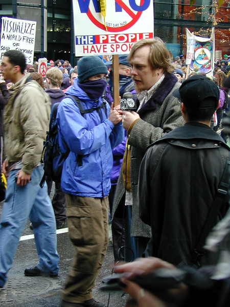 A journalist covering the protest.