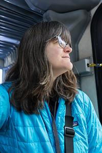 Kathy on the Shuttle