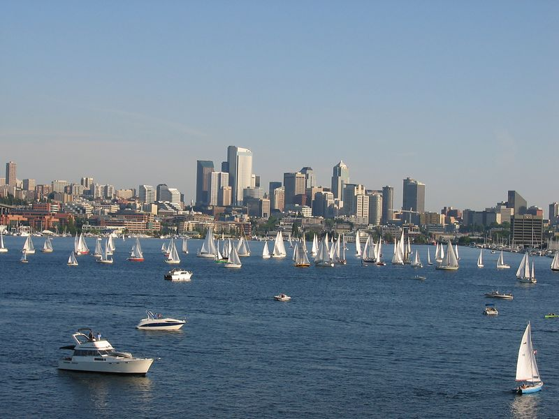 Lake Union Sail Boat Races every Tuesday during summer.