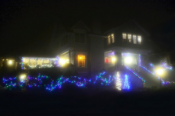 Chistmas Lights Through Mist