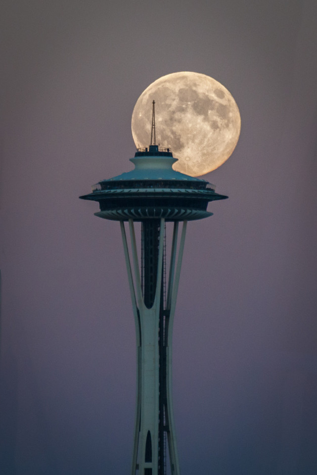 Moon Rise and Space Needle