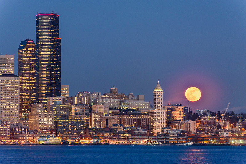 Snow Moon Over Seattle