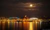 Moon Rising over CenturyLink Field and Safeco Field, Seattle, Washington
