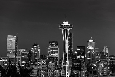 Seattle at night, B&W.