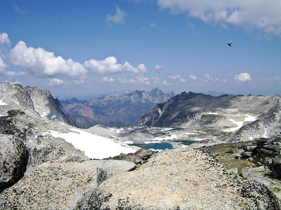 Distracted by this view of the Upper Enchantments Basin I didn't notice the B52 sized flying critter inbound.  Not sure if he'd qualify as a gem though.  A pest yes.  Photographer's Name: Greg Marsh