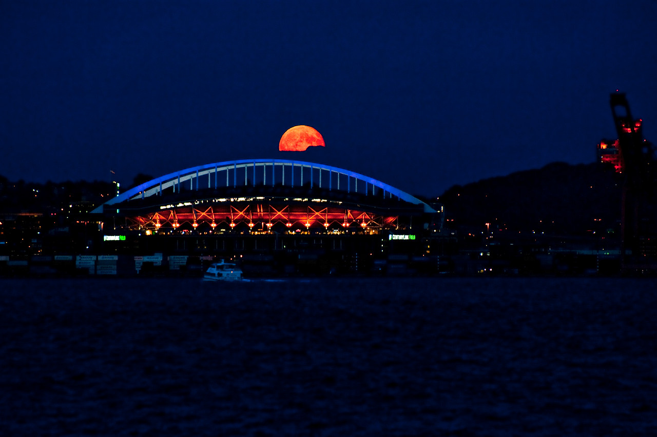 Moon rise over Century Link Field  Photographer's Name: Craig Young
