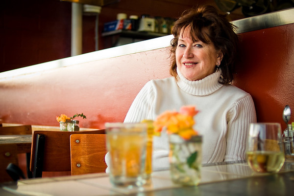 SPENDING THE DAY IN NEWPORT, Oregon:  Ruth poses for a shot while we take a break for dinner.