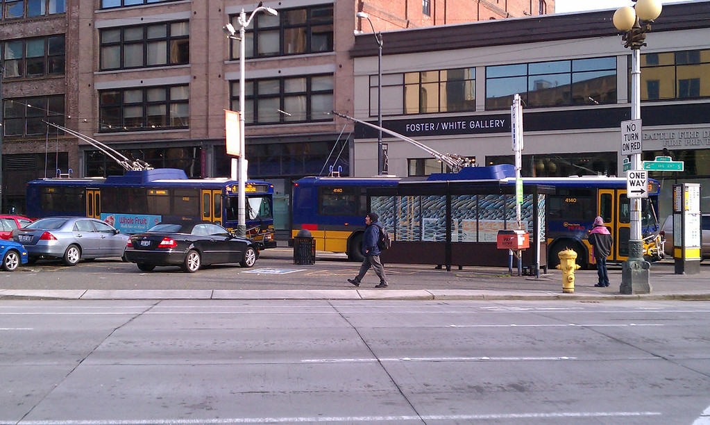 Seattle Metro trolleys at end of route in Pioneer Square area.