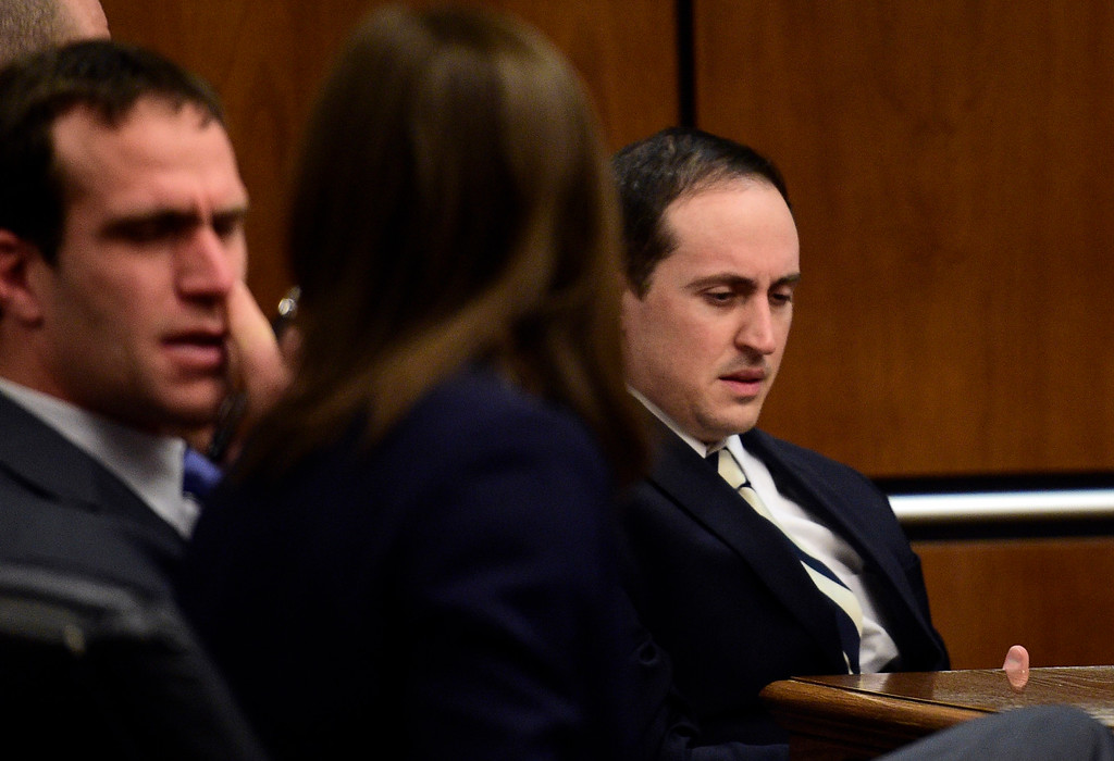 . BOULDER, CO: February 22, 2019: Louis Sebastian, right, waits to be taken out of the courtroom at the Boulder County Justice Center Friday after Judge Andrew Hartman formally sentenced him to life in prison without the possibility of parole for the murder count, 634 days time served on the gun count.  (Photo by Cliff Grassmick/Staff Photographer)