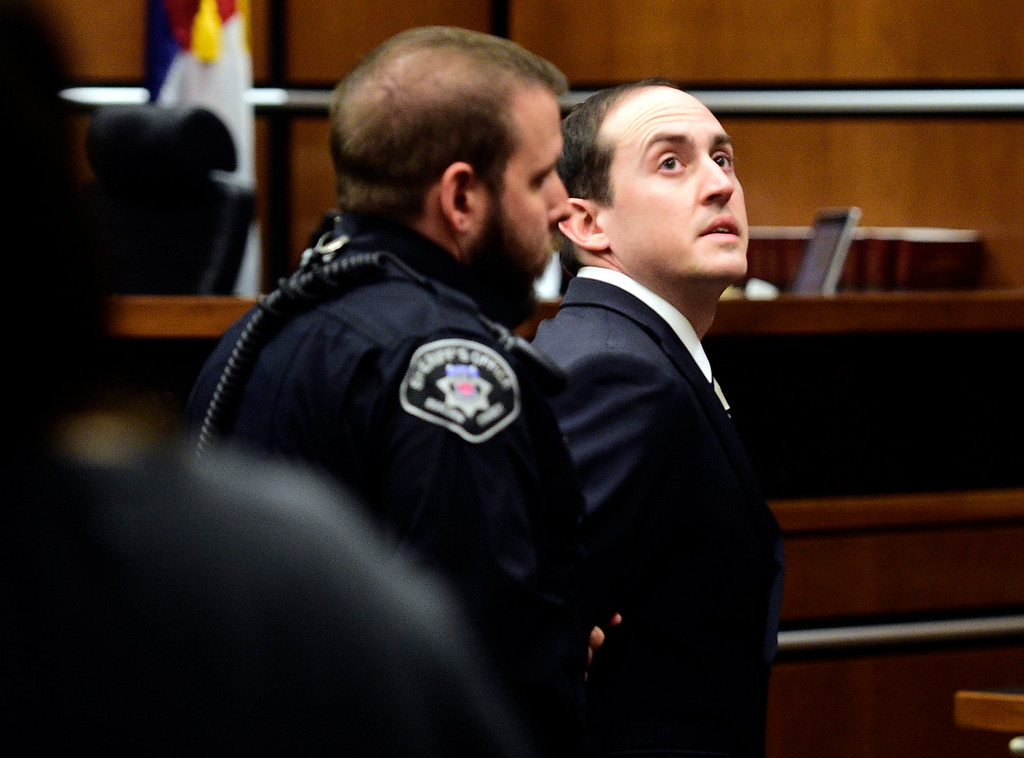 . BOULDER, CO: February 22, 2019: Louis Sebastian, right, is cuffed and led out of the courtroom at the Boulder County Justice Center Friday after Judge Andrew Hartman formally sentenced him to life in prison without the possibility of parole for the murder count, 634 days time served on the gun count.  (Photo by Cliff Grassmick/Staff Photographer)