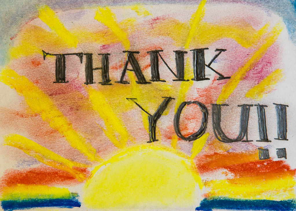 Thank you card. Age 13
