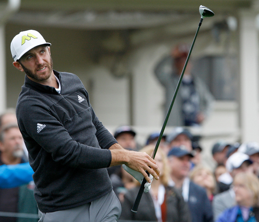 . Dustin Johnson tees off on the tenth hole at Spyglass Hill second round of the AT&T Pebble Beach Pro Am on Friday, Feb. 10, 2017.   (Vern Fisher - Monterey Herald)