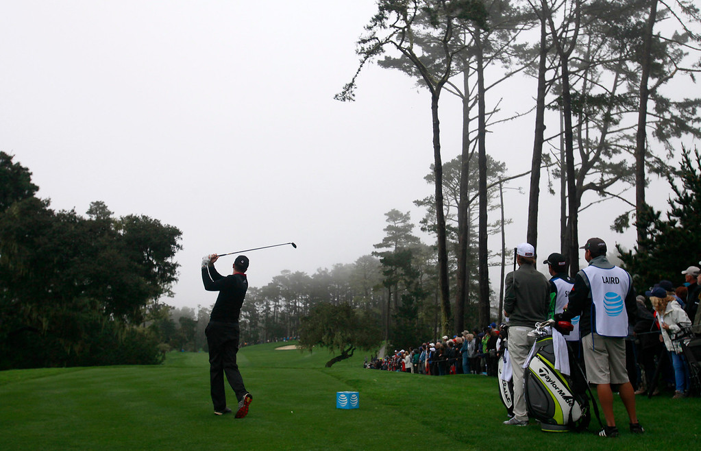 . Martin Laird tees off on the tenth hole at Spyglass Hill during the second round of the AT&T Pebble Beach Pro Am on Friday, Feb. 10, 2017.   (Vern Fisher - Monterey Herald)