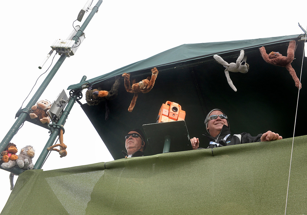 . T.A. Heckel and Pete Tansill work the laser operation box at the fifth green with a bunch of stuffed monkeys attached at Pebble Beach Golf Links during the second round of the AT&T Pebble Beach Pro-AM in Pebble Beach on Friday February 10, 2017. (David Royal - Monterey Herald)