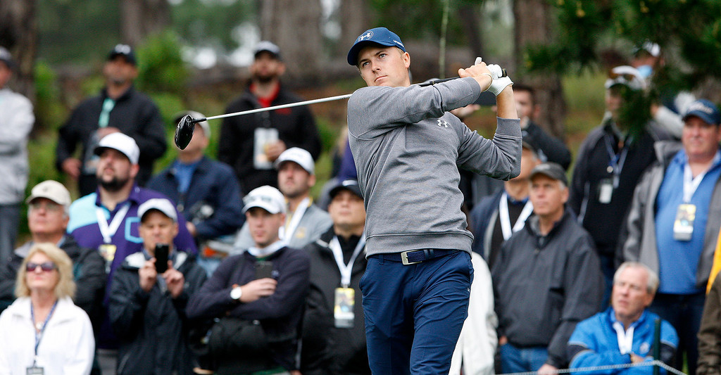 . Jordan Spieth tees off on the eleventh hole at Spyglass Hill during the second round of the AT&T Pebble Beach Pro Am on Friday, Feb. 10, 2017.   (Vern Fisher - Monterey Herald)