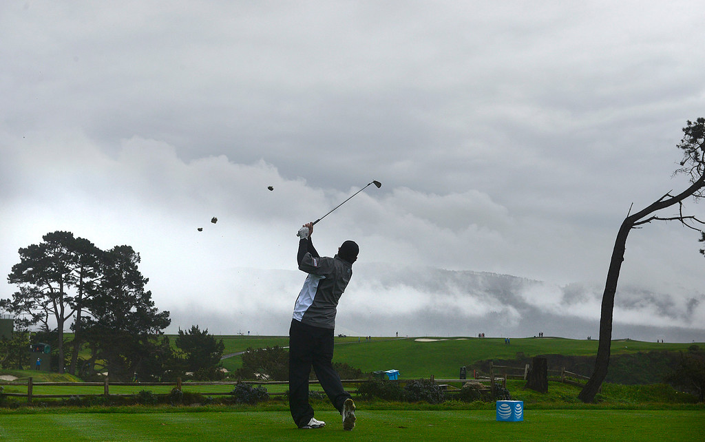 . Steven Bowditch tees off on the fifth hole at Pebble Beach Golf Links during the second round of the AT&T Pebble Beach Pro-AM in Pebble Beach on Friday February 10, 2017. (David Royal - Monterey Herald)