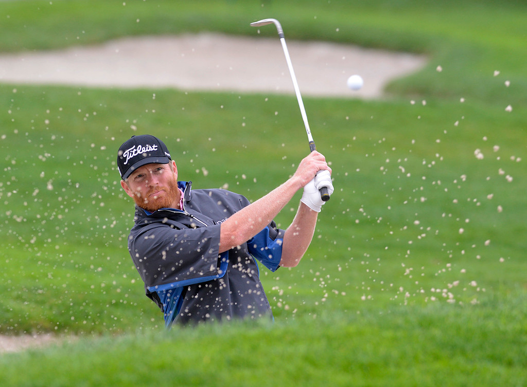 . Derek Fathauer hits his ball from a bunker on the second green at Pebble Beach Golf Links during the second round of the AT&T Pebble Beach Pro-AM in Pebble Beach on Friday February 10, 2017. (David Royal - Monterey Herald)