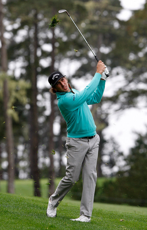 . Kelly Kraft hits his second shot on the tenth hole at Spyglass Hill during the second round of the AT&T Pebble Beach Pro Am on Friday, Feb. 10, 2017.   (Vern Fisher - Monterey Herald)