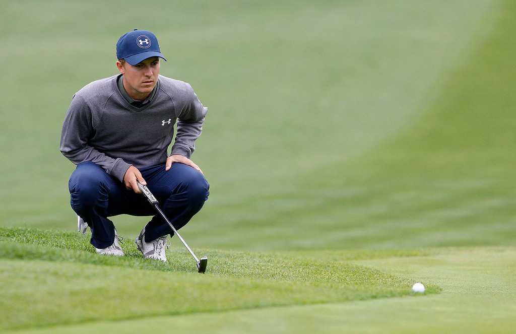 . Jordan Spieth lines up a putt on the tenth hole at Spyglass Hill during the second round of the AT&T Pebble Beach Pro Am on Friday, Feb. 10, 2017.   (Vern Fisher - Monterey Herald)