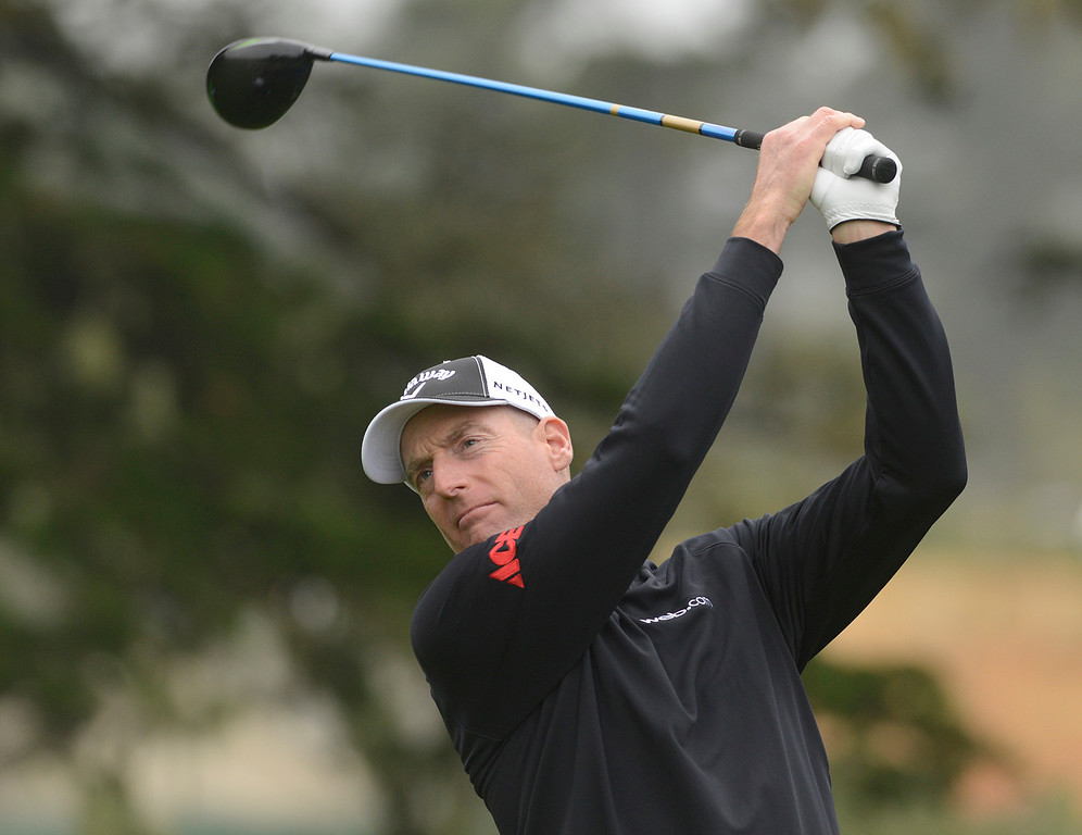 . Jim Furyk tees off on the second hole at Pebble Beach Golf Links during the second round of the AT&T Pebble Beach Pro-AM in Pebble Beach on Friday February 10, 2017. (David Royal - Monterey Herald)