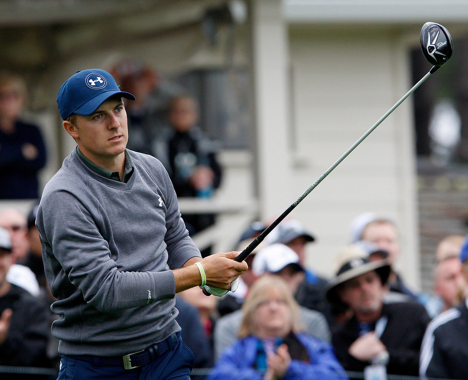 . Jordan Spieth tees off on the tenth hole at Spyglass Hill during the second round of the AT&T Pebble Beach Pro Am on Friday, Feb. 10, 2017.   (Vern Fisher - Monterey Herald)