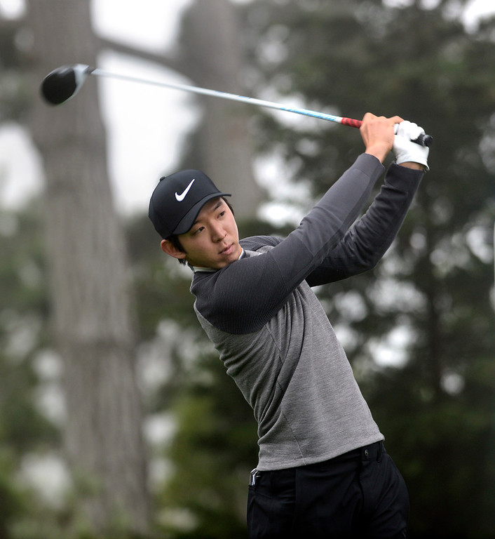 . Seung-Yul Noh hits his tee shot on the thirteenth hole at Pebble Beach Golf Links during the second round of the AT&T Pebble Beach Pro-AM in Pebble Beach on Friday February 10, 2017. (David Royal - Monterey Herald)